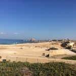 the ancient remains of Herod's palace and other buildings on the coast of Israel