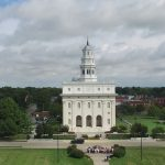 aerial view of Nauvoo Temple and surrounding area