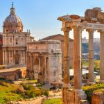 ancient Roman colonade and arch ruins