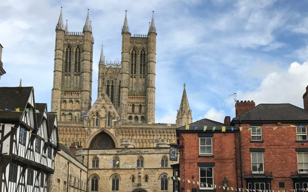 Lincoln England with Cathedral spires in the background