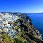 view of Santorini from cable car with blue Mediterranean