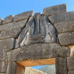 close up of Lions gate entrance to ancient city of Mycenae