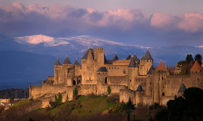 picturesque medieval fortified palace on a hill