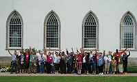 Tour group in front of Kirtland Temple