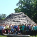 Group at Hopewell home, Fort Ancient