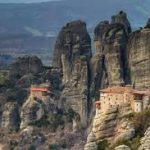 monasteries built precariously on rock out croppings