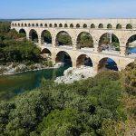 ancient roman aquaduct bridge at Nimes France