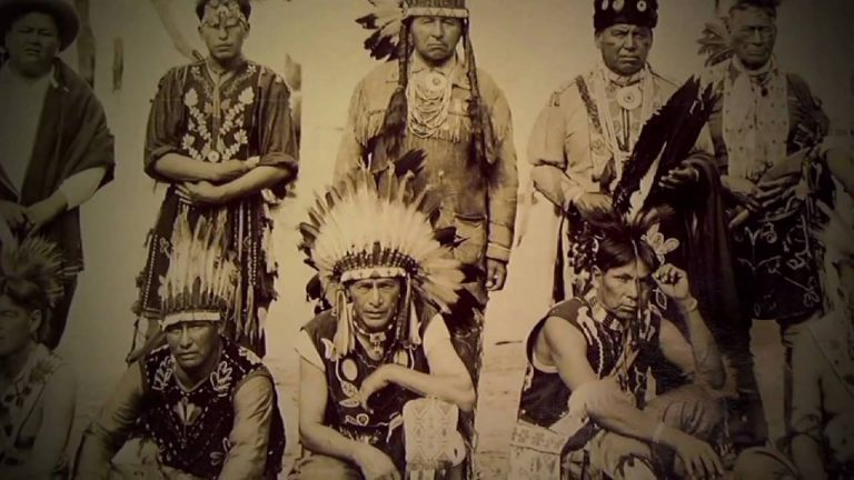 dated picture of Native American men of the Potawattmoie tribe