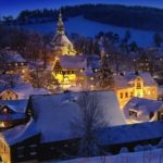 snowy Seiffen Christmas Market Germany at night