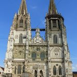 St Peter's Cathedral facade Regensburg Germany