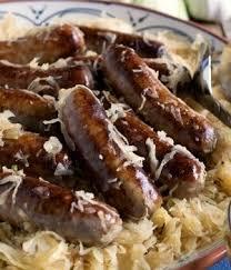 German food, bratwurst and sauerkraut