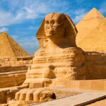 The great sphinx in front of the pyramids of Giza